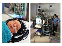 Integrated optical-EEG cap on infant (left) and optical-EEG study on NICU