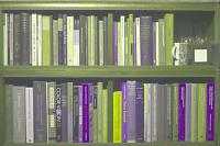 A simulation of how a bookcase may look to a person who has the common form of colour blindness called deuteranopia