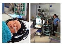 Integrated optical-EEG cap on infant (left) and optical-EEG study on NICU